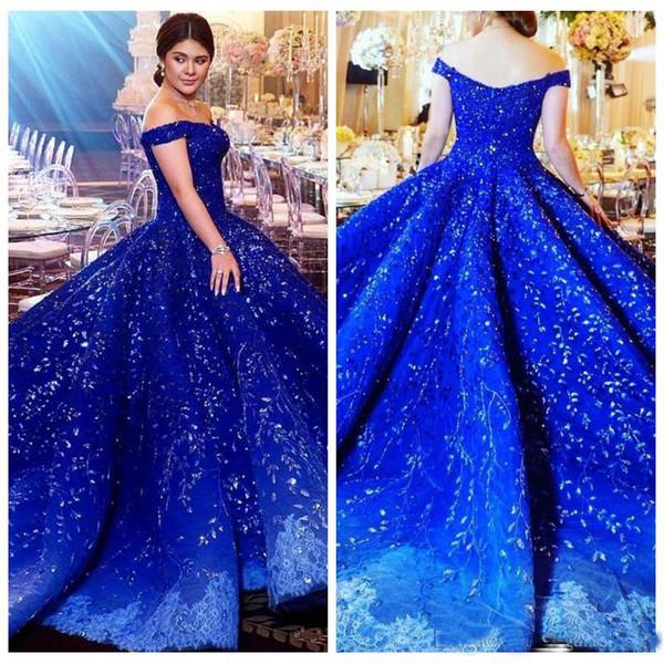 2018 Custom Luxury Dubai strass Prom Dress Beads Crystal Applique Off spalla abito da sera Gorgeous Lace Ball Gown abiti da fidanzamento