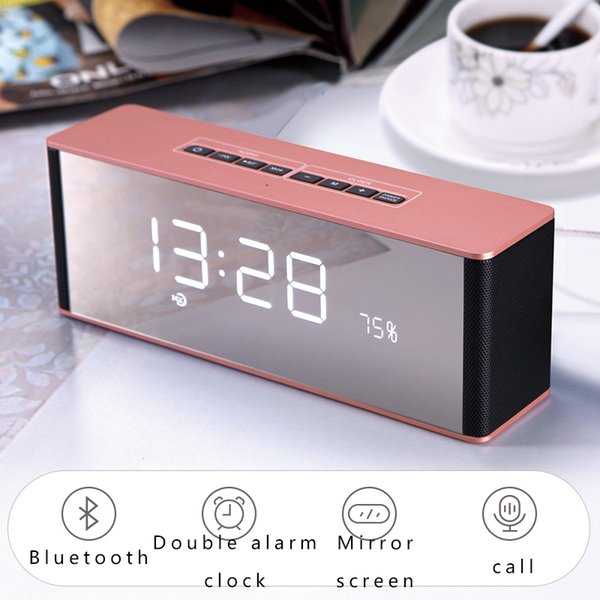 Bluetooth Speaker Led Display Modern Wireless Call Snooze Function Table Clock Digital Alarm Clock Radio Mirror Display