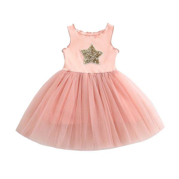 INS Designer Princess Little Girls Lace Sequins Stars Dresses Pink Black Cotton Lace Sleeveless Round Collar Stylisy Child Girls Clothing