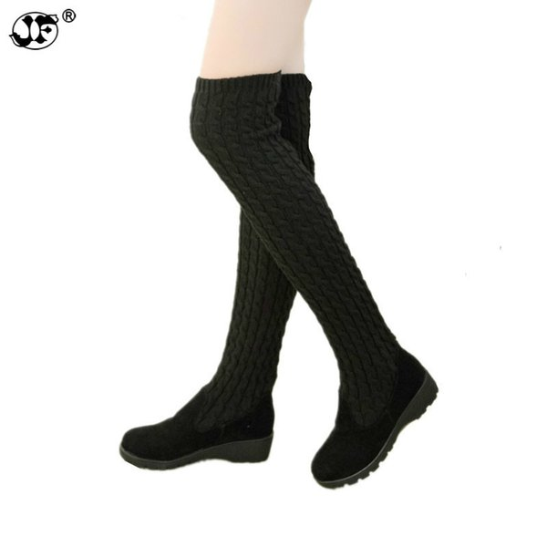 2018 fashion autumn winter boots Stretch strap woman boots warm over the knee high boots women shoes round toe down fur 856