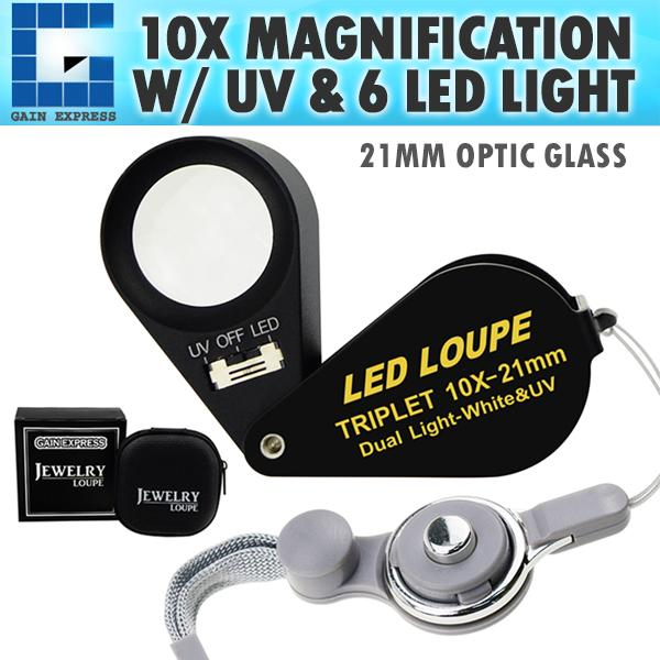 30x Magnification Jewelry Gem Loupe with UV /& 6 LED Light 21mm Optical Glass Achromatic Aplanatic Triplet Magnifiers Lens Portable Handheld Magnifying Tool Jeweller Stamp /& Coin Collectors Foldaway