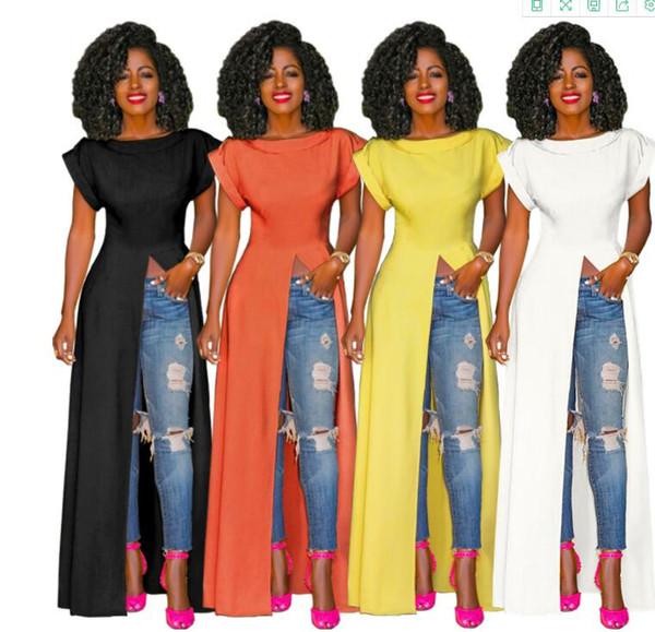 Heiße verkaufende Frauen spalten Kleidqualität lange reizvolle beiläufige Kleider auf, die Kleidfabrik-Preisversorgung aufschlitzen