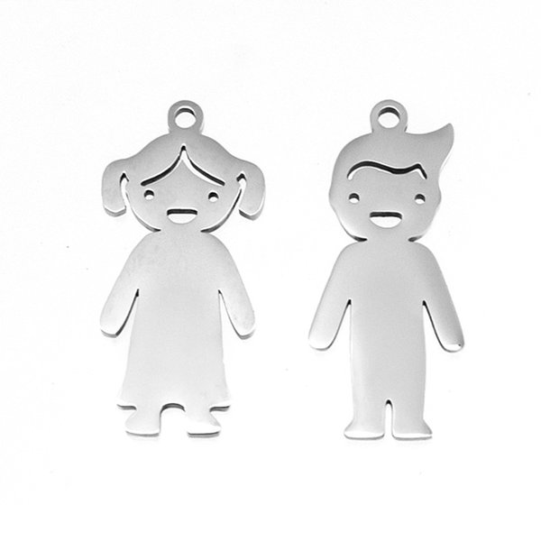 Family Daughter Son Pendant Girl Boy Charm Stainless Steel Mirror Polish for Necklace/Bracelet Accessory Wholesale 50pcs