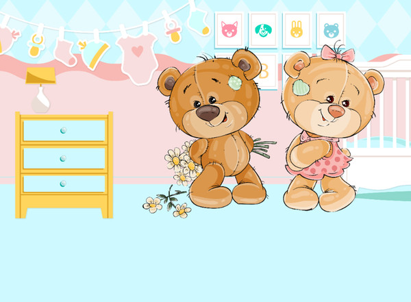 7x5ft Love Loundry Twin Bears Gender Reveal Baby Shower Custom Photo Studio Background Backdrop Vinyl 220cm x 150cm