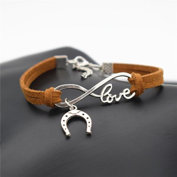 2019 Europe and America Popular Women Men Valentine's Day LOVE Infinity Jewelry Cute Horseshoe Horse Hoof Charm Brown Leather Rope Bracelets