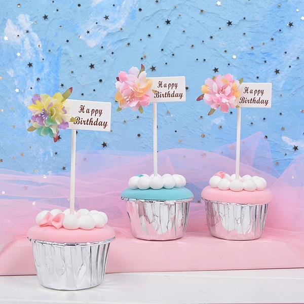 5bags 15pcs Happy Birthday Flower Cake Decor Dessert Gelato Cupcake Toppers Picks Bambini Festa di compleanno Decorazioni per matrimoni Forniture