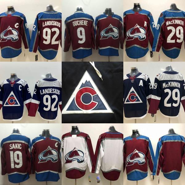 Hombres Colorado Avalanche 9 Matt Duchene 19 Joe Sakic 29 Nathan MacKinnon 92 Gabriel Landeskog Granate Rojo Blanco Hockey Jersey