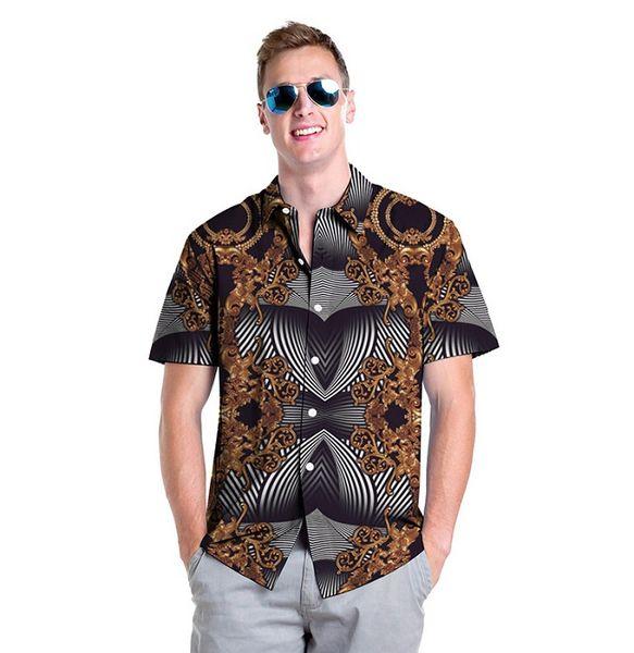 Moda erkek rahat gömlek yaz gevşek çizgili 3D baskı desen gömlek sokak tarzı gevşek erkek gömlek toptan