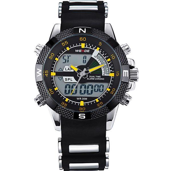 WEIDE Mens Quartz Watches Luxury Sports Army Stopwatch Analog Digital Wristwatch Silicone Strap Band LED Wristwatches WH1104