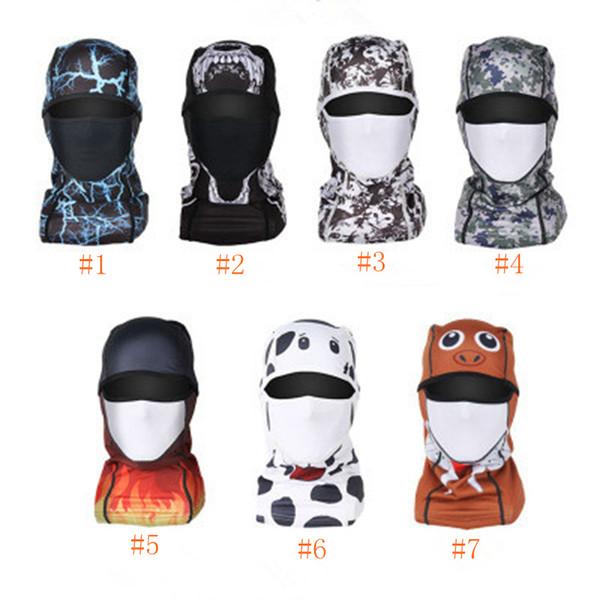 Máscaras de ciclismo bicicleta motocicleta chapéu ciclismo tampas esporte ao ar livre máscara de esqui conjuntos de cabeça de poeira à prova de vento impressão tático máscara ZZA546