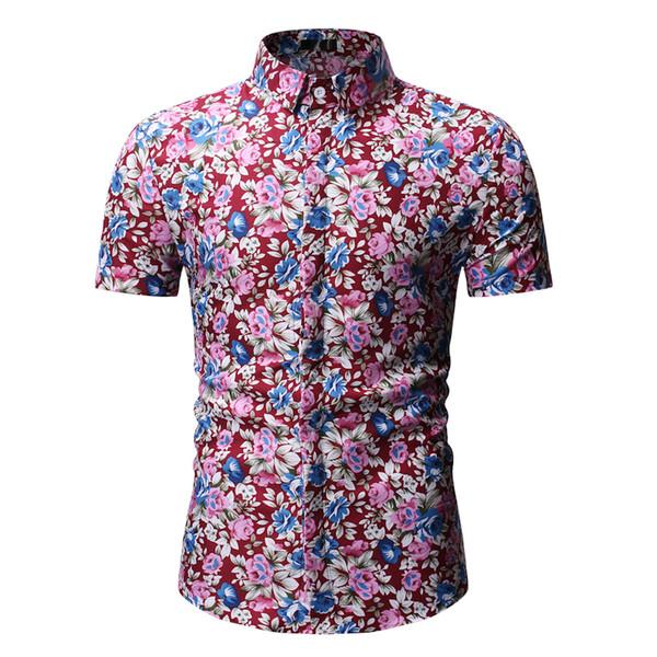 Camicia hawaiiana da uomo casual stampata a fiori 2019 Camicia floreale a maniche corte nuovissima da uomo Camicie da spiaggia estiva da uomo Chemise Homme