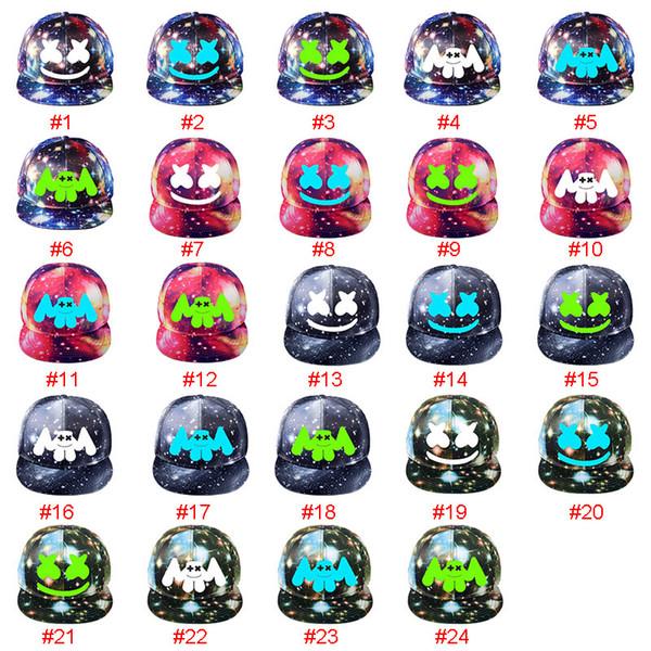 24 дизайн DJ Marshmello Hat игра вокруг звездной шляпы плоская крышка корейская версия мужчин и женщин козырек холст бейсболка регулируемая