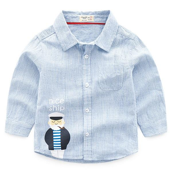 Autumn Korean Version Of The Boutique Childrens Printing Grandfather Cotton Long-sleeved Shirt Boy Shirt