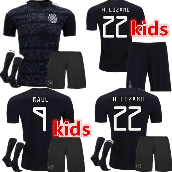 2019 Mexico Gold Cup kids+socks Soccer Jersey Black VELA CHICHARITO LOZANO MARQUEZ HERRERA Football Shirt Top Quality National Team Uniform