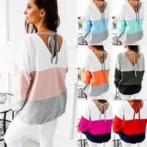 8styles Contrasting color patchwork T-shirt top Women Casual Long-sleeve lady top spring winter home outdoor sport clothes FFA1566