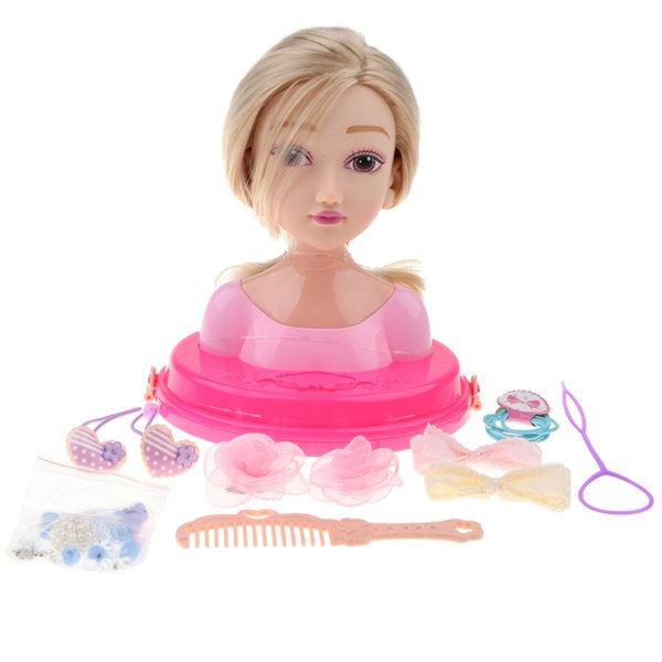top popular Fashion Hair Styling Dolls Head Play Set Kids Childs Toy Beauty Girl Gift 2021