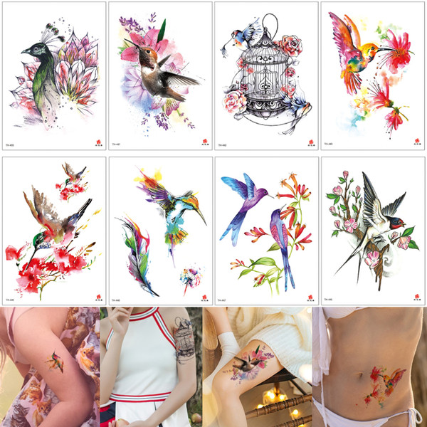 Watercolor Temporary Tattoo Bird Cage Flowers Sticker Designs Fake Beauty Tattoo for Women Men Arm Leg Back Waist Body Art Child Accessories