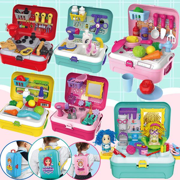 Kitchen Toys Set Children Lovely Mini Kitchen Backpack Cooking Doll Supermarket Dresser Shop Pet Care Role Play Cartoon Kids Toy SH190907