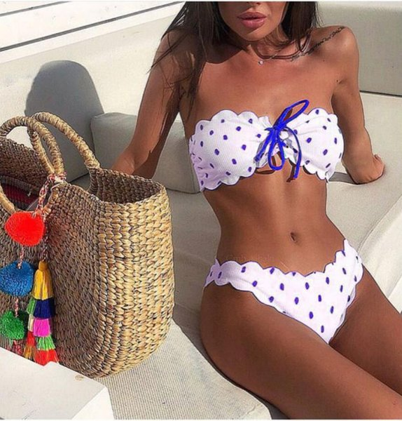 Bikini Swimwear Swimsuit Spandex Bandeau Swimwear Swimsuit Bikini Polka Dot Summer Beach Festival Women Bathing Suits