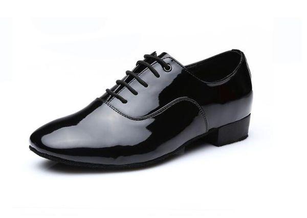 Tap Dance Men's Dress Shoes Square Heel Round Toe Male Shoes Lace-up Adults Dancing Shoes Rubber Anti-skidding Men Soles 1a18