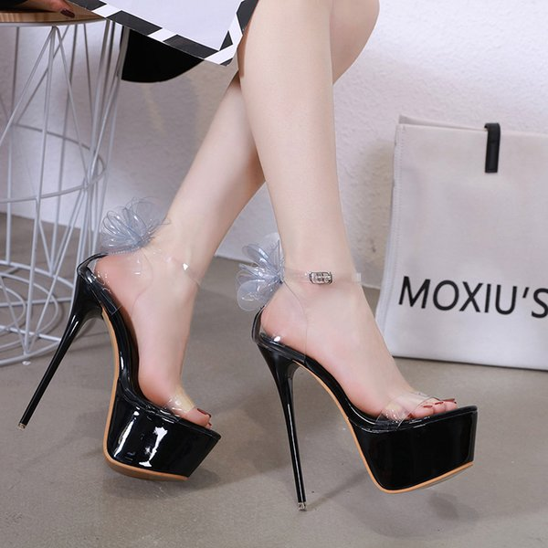 competitive price good texture top design Flower Sandals High Heels Shoes Summer Sexy Open Toe Heels Party Shoes  Gladiator Platform PVC Women Sandals Dress Shoes YMA795 White Mountain  Shoes ...