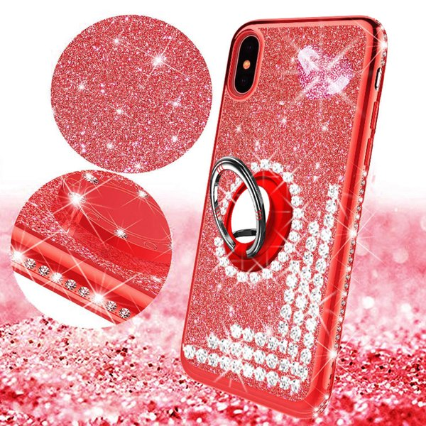 Shiny Glitter Bling case for iphone 6 6s 7 8 plus x xr xs max with kickstand Extremely Slim 2 in 1 Transparent Clear love gem Rhinestone