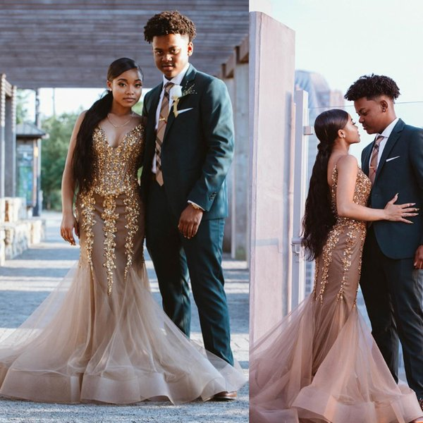 Gorgeous Champagne Mermaid Prom Dresses Sparkly Sequins Beaded Piping Tulle Skirt Sexy Backless Evening Formal Gowns Glitter Celebrity Dress