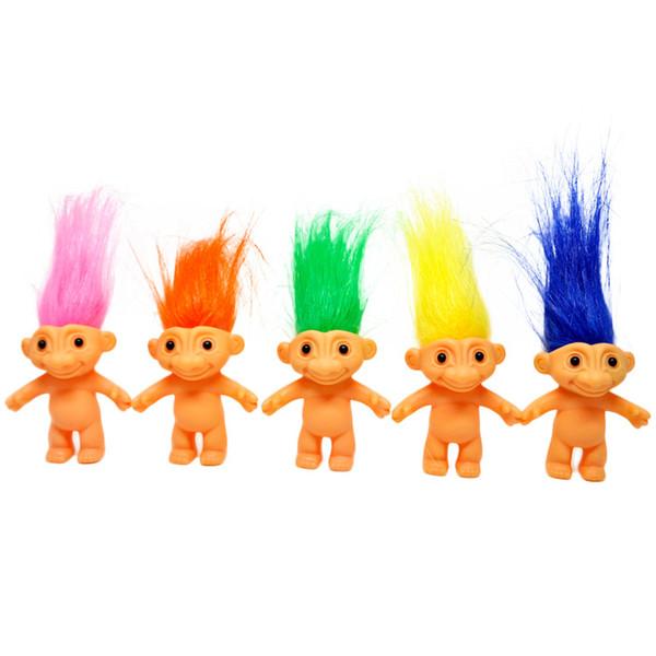 Action coloré 6cm cheveux Troll Poupées Figures Poupée super mignon Cheveux longs Trolls chanceux de cadeaux de jouets pour enfants Jouets cadeau