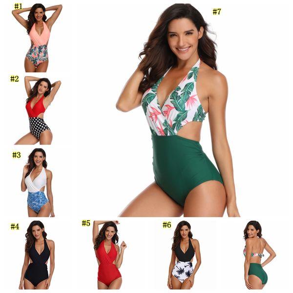 Womens Sexy One-piece Bikinis flower Swimwear Tummy Control One Piece Swimsuit Front Cross Colorblock Bathing Suit MMA1874