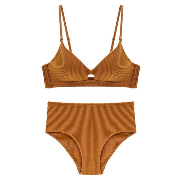 Fashion Push Up Cotton Vest Panties Women Lingerie Set Noble Solid Bra Thread Padded Back Underwear Striped Design
