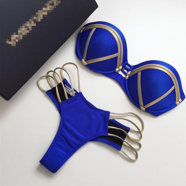 2018 Sexy Bandeau Thong Bikini Set Push Up traje de baño Halter Top para mujeres azul oro estampado traje de baño acolchado traje de baño femenino Y19051801