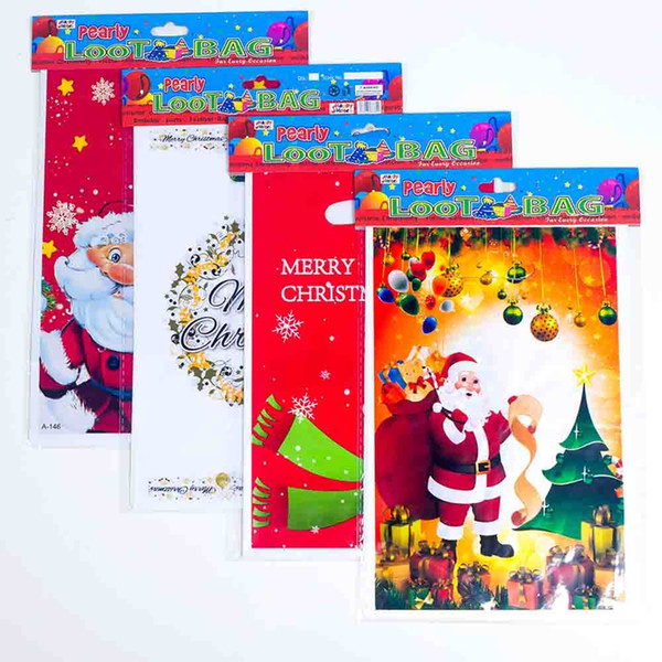 10 Pcs Christmas card Bag Candy Cookies Package Gift Bag Resealable New Year Gift Bags For Xmas Home Party Packing Decor