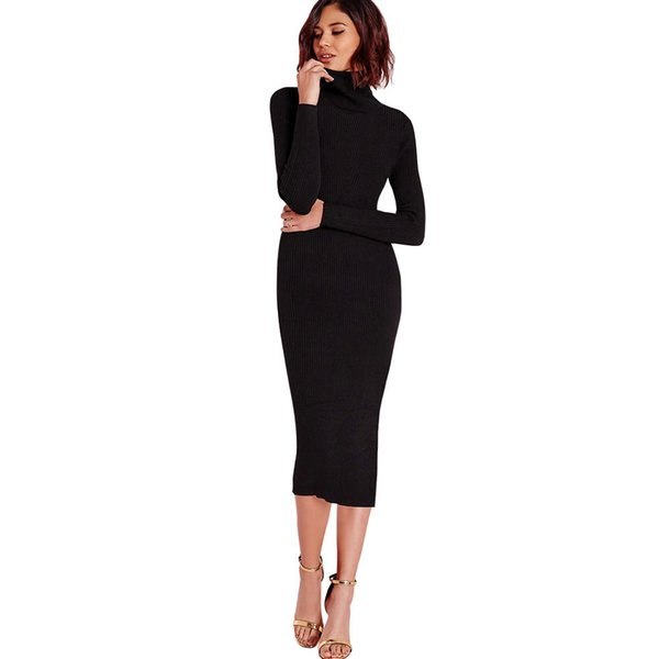 8969cca155f 2019 Women Autumn Winter Sweater Knitted Dresses Slim Elastic Turtleneck  Long Sleeve Sexy Lady Bodycon Robe
