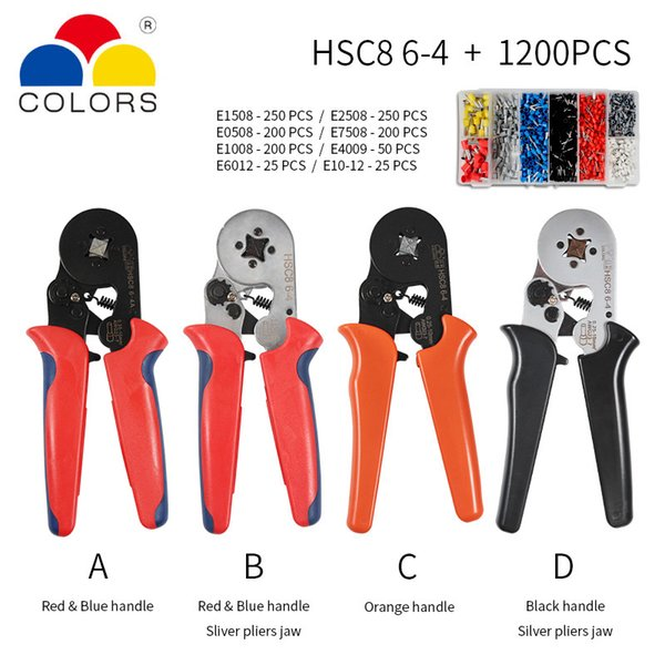 HSC8 crimpadora 0.25-10mm2 HSC8 6-4 / 6-6 0.25-6mm2 tubo herramientas de férula tipo de aguja caja de terminales de fijación de cables Mini presión