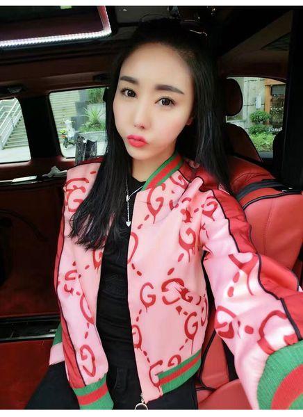 2019 nueva mujer carta de bloque de color de impresión de manga larga chaqueta de béisbol informal diseño de abrigo corto moda casacos S M L