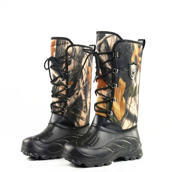 Warm Snow Boots Knee High Military Tactical Camo Wellington Boots Outdoor Camo Waterproof Hiking Camping Hunting Fishing Shoes #346341