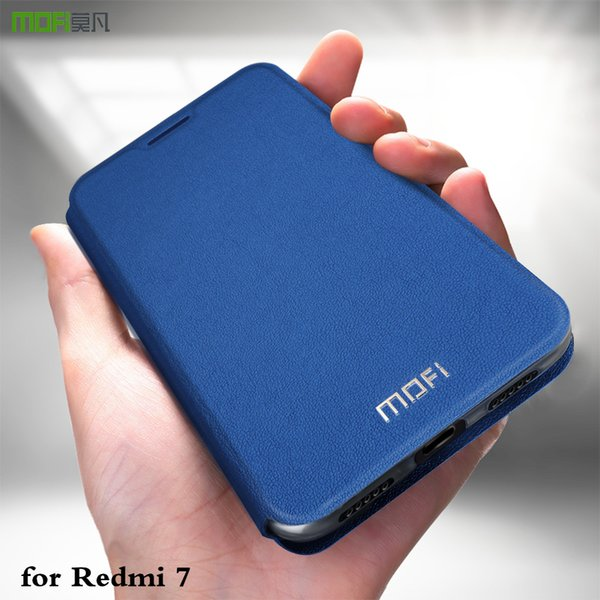 Venta al por mayor de Redmi 7 MOFi Cover para Xiaomi Mi Redmi7 Flip Carcasa Xiomi Coque TPU Capa PU Soporte de libro de cuero a prueba de golpes Anti Golpe