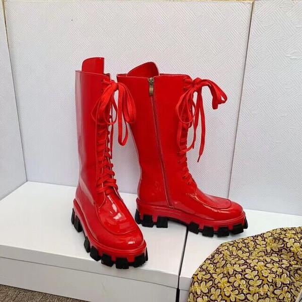 2019 19ss primavera outono designer de moda de luxo das mulheres doce cor neon patente couro real lace up com zip mid vitela militar botas de combate
