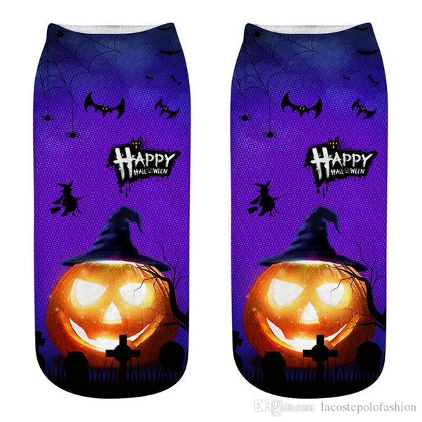 halloween element 3d print womens socks designer bat pumpkin castle socks casual couple matching short hosiery, Black;white