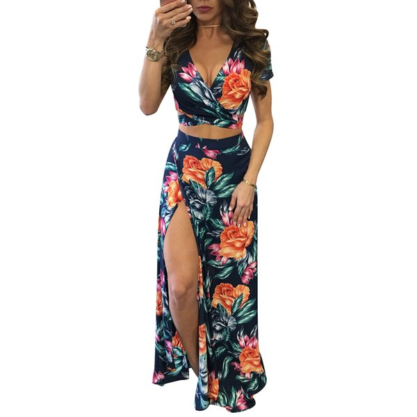 Elegant Women Summer Long Maxi Dresses Two Piece Set Sexy 2019 Hollow Out Crop Top Skirts Floral Print 2 Piece Suits