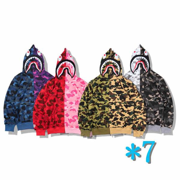Marca Mens Hoodie Testa dello squalo maglione modo caldo di vendita di Hip Hop con cappuccio Via camuffamento con cappuccio maglione cappotto di autunno Coppia formato S-2XL * 7