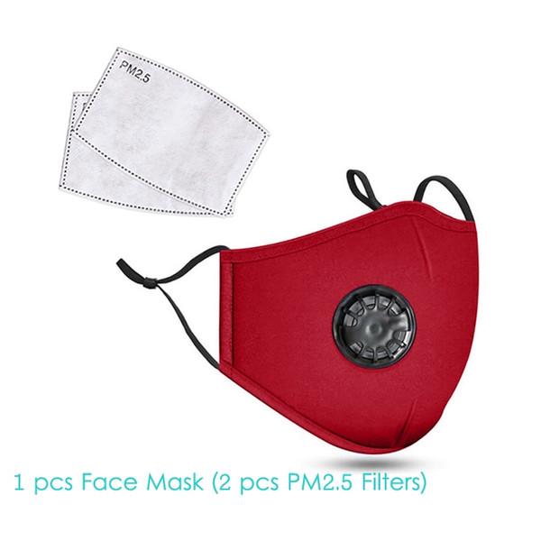 1pcs Red Face Mask + 2pcs Filter