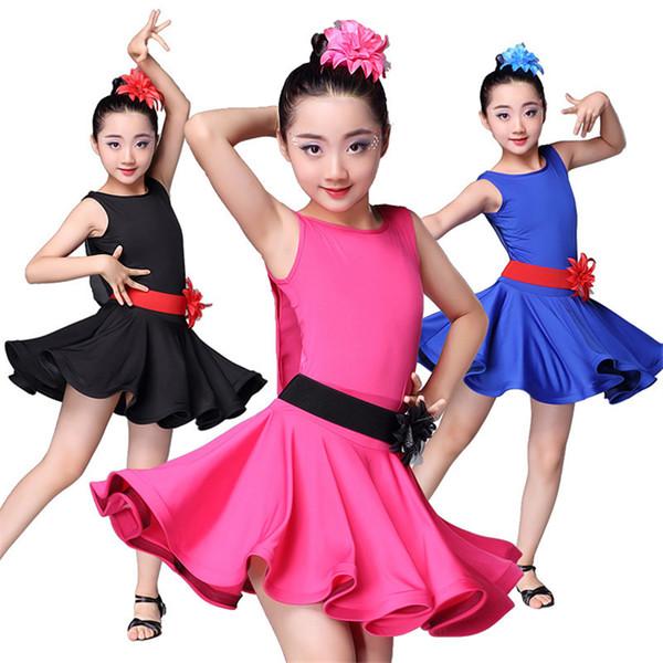New Girls Latin Dance Dress Ballroom Dance Competition Dresses Tango Practice Fringe Skirt for Girl Top Stage Wear Costumes