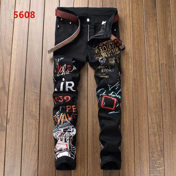 Men's wear black motorcycle jeans personality white print graffiti style stitching casual pants jogging pants fashion designer bike slim pan