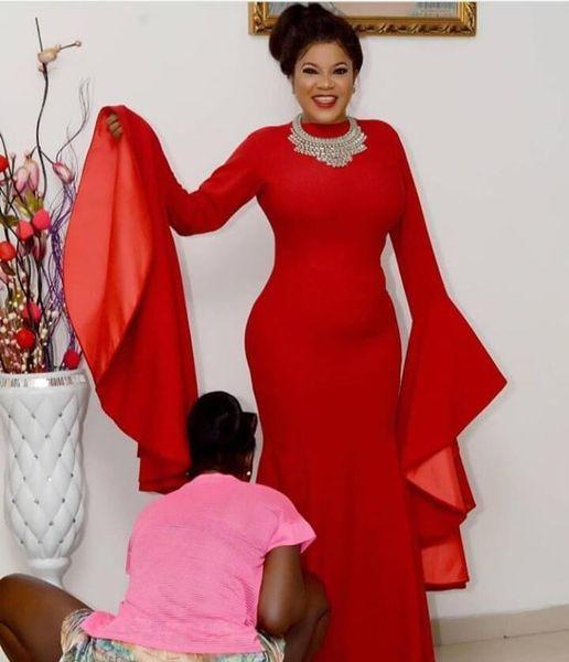 Red Poet Langarm Meerjungfrau Abendkleider 2020 African Saudi Arabia Formelle Kleidung Für Frauen Abendkleider Promi Mutter Kleider