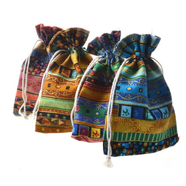 Ethnic Style Drawstring Gifts Bags Multicolor Tribe Cotton Linen Bag Candy Small Jewelry Pouches Wedding Christmas Party Favors Pouches