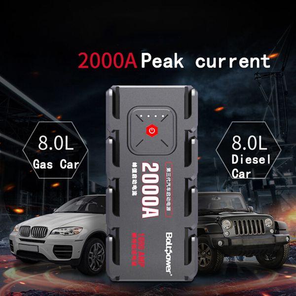 2000A Peak Car Jump Starter Pack Portatile LED Power Bank Car Boat Auto Cars Alimentazione batteria Telefono Morsetti di alimentazione per 12V