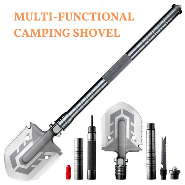 best selling Outdoor Tactical Camping Shovel 58 HRC Multitool Folding Shovel Lifter Mounted Fishing Outdoor Emergency Camping Tool