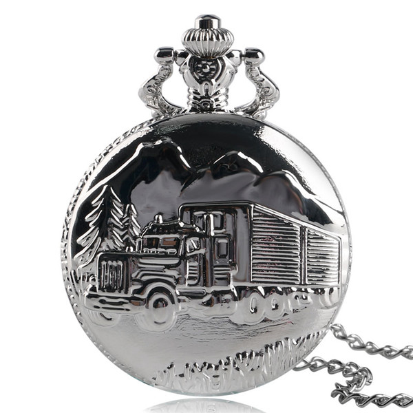 Solid Silver Lorry Carving Pocket Watch Simple Truck Car Pattern Slim Necklace Cool Boys Teens Clock Special Family Drivers Gift
