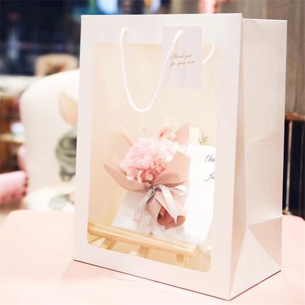 25x15x35cm Rose / Blanc / Noir Grande Fenêtre Sac Transparent Fleur Visible Emballage Sac Cadeau Sac Portable Papier Fleur Sacs LX1555